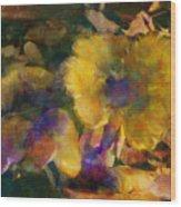 Golden Mushrooms Wood Print