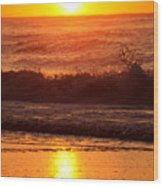 Golden Ocean City Sunrise Wood Print