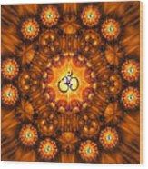 Golden Om Fracdala Wood Print
