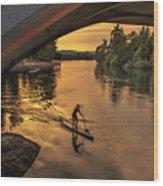 Golden Paddler Wood Print