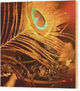 Golden Peacock Feather Wood Print