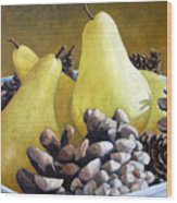 Golden Pears And Pine Cones Wood Print