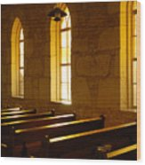Golden Pews Wood Print
