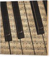 Golden Pianoforte Classic Wood Print