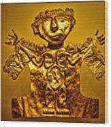 Golden Priest Statue Wood Print