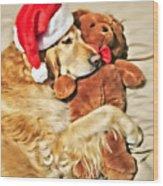 Golden Retriever Dog Christmas Teddy Bear Wood Print