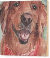 Golden Retriever Dog In Watercolori Wood Print