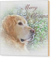 Golden Retriever Dog Merry Christmas Card Wood Print