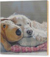 Golden Retriever Dog Sleeping With My Friend Wood Print by Jennie Marie Schell