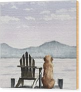Golden Retriever On The Dock Wood Print