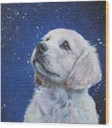 Golden Retriever Pup In Snow Wood Print