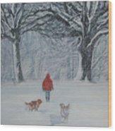 Golden Retriever Winter Walk Wood Print