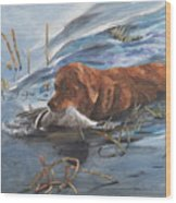 Golden Retriever With Duck Wood Print