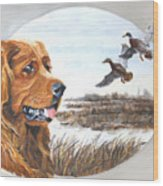Golden Retriever With Marsh Scene Wood Print