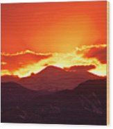 Golden Rocky Mountain Sunset Wood Print