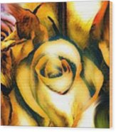 Golden Rose N Twilight Wood Print