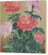 Golden Roses Wood Print