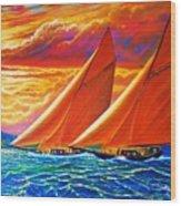 Golden Sails Wood Print by Joseph   Ruff