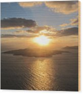 Golden Santorini Sunset Wood Print
