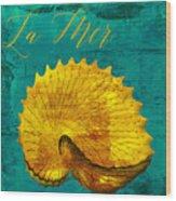 Golden Shell Wood Print