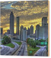 Golden Skies Atlanta Downtown Sunset Cityscape Art Wood Print