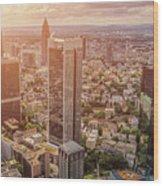 Golden Skyscrapers Of Frankfurt Wood Print