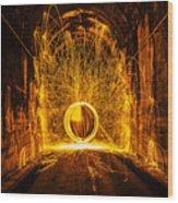 Golden Spinning Sphere Wood Print
