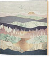 Golden Spring Reflection Wood Print