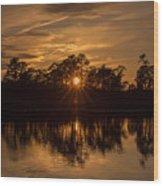 Golden Sunburst At The Lake New Jersey  Wood Print