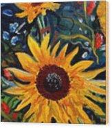 Golden Sunflower Burst Wood Print