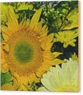 Golden Sunflower Yellow Bouquet By Kaye Menner Wood Print