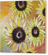Golden Sunflowers Wood Print