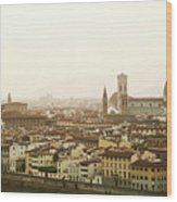 Golden Sunset Of Florence, Italy. Wood Print