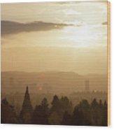 Golden Sunset Over Portland Skyline Wood Print