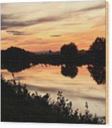 Golden Sunset Reflection Wood Print