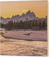Golden Teton Sunset Wood Print
