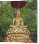 Golden Thai Buddha Wood Print