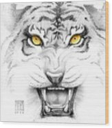 Golden Tiger Eyes Wood Print