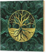Golden Tree Of Life Yggdrasil On Malachite Wood Print