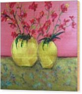 Golden Vases - Red Blooms Wood Print