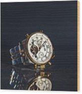 Golden Watch On Dark Background Wood Print