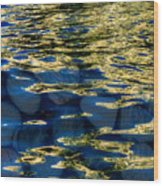 Golden Water With Rocks Wood Print