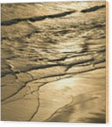 Golden Waves Wood Print