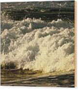 Golden White Wave Wood Print