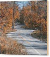 Golden Winding Road Wood Print