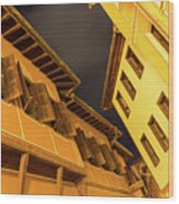 Golden Yellow Night - Chic Zigzags Of Oriel Windows And Serrated Roof Lines Wood Print