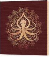 Golden Zen Octopus Meditating Wood Print