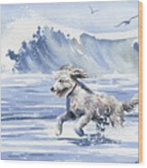 Goldendoodle At The Beach Wood Print