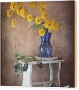 Goldenglow Flowers In Blue Vase Wood Print