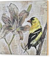 Goldfinch And Lily Wood Print